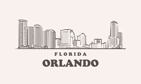Orlando skyline, florida drawn sketch 矢量图像