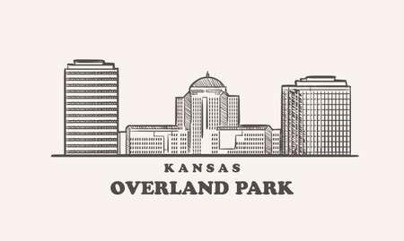 Overland Park skyline, kansas drawn sketch
