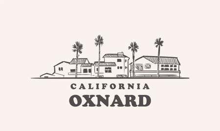 Oxnard skyline, california drawn sketch 矢量图像