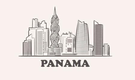 Panama skyline, drawn sketch illustration