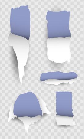 Torn paper realistic transparent set 向量圖像