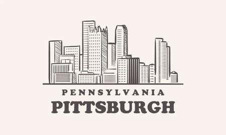 Pittsburg skyline, Pennsylvania drawn sketch