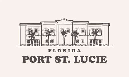 Port St. Lucie skyline, florida drawn sketch