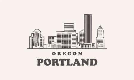 Portland skyline, oregon drawn sketch