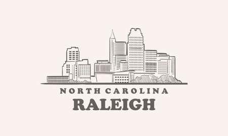 Raleigh skyline, north carolina drawn sketch 向量圖像