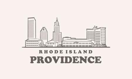 Providence skyline, rhode island drawn sketch