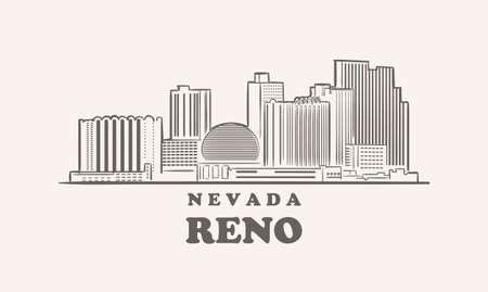 Reno skyline, nevada drawn sketch