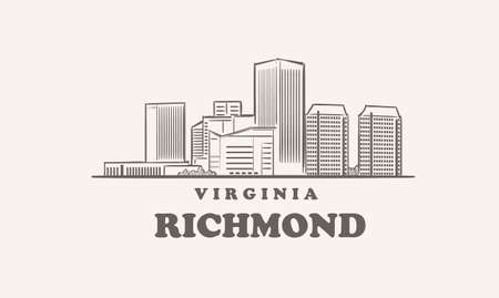 Richmond skyline, virginia drawn sketch 矢量图像