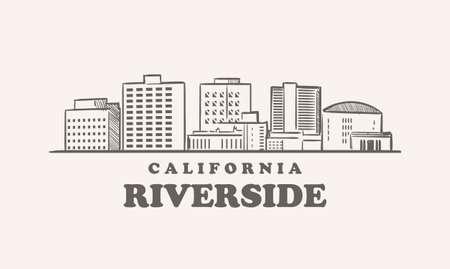 Riverside skyline, california drawn sketch