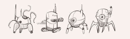 Different fancy robots, hand drawn sketch 矢量图像