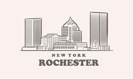 Rochester skyline, new york drawn sketch