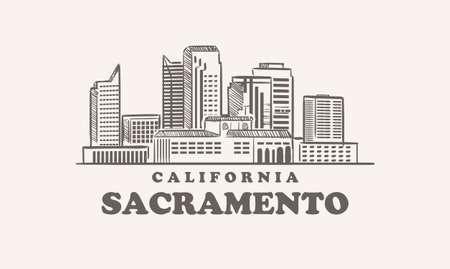 Sacramento skyline, california drawn sketch