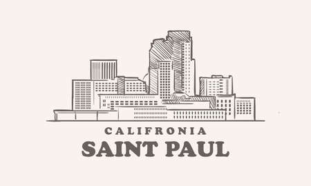 Saint Paul skyline, california drawn sketch