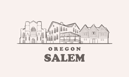 Salem skyline, oregon drawn sketch 矢量图像