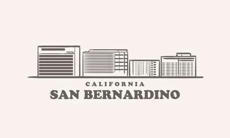 San Bernardino skyline, california drawn