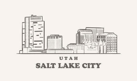 Salt Lake City skyline, utah sketch