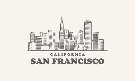 San Francisco skyline, california drawn sketch
