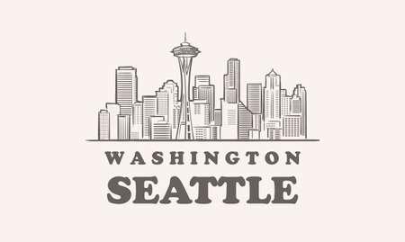 Seattle skyline, washington drawn sketch