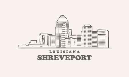 Shreveport skyline, louisiana drawn sketch