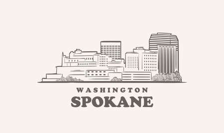 Spokane skyline, washington drawn sketch 向量圖像