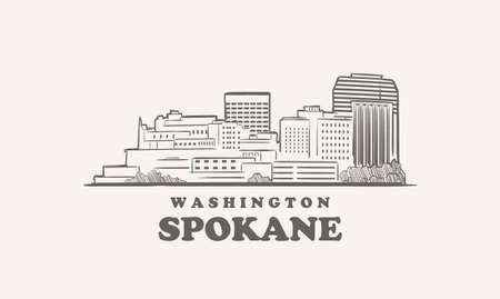 Spokane skyline, washington drawn sketch 矢量图像