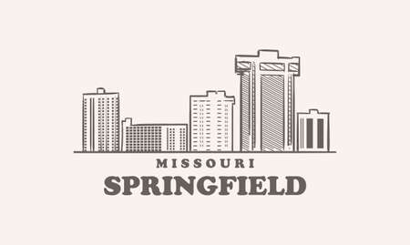Springfield skyline, missouri drawn sketch