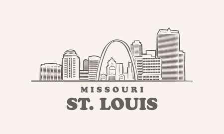 St. Louis skyline missouri drawn sketch