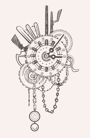Steampunk Watch with Chains and gears