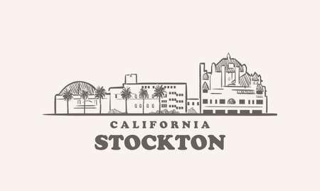 Stockton skyline, california drawn sketch