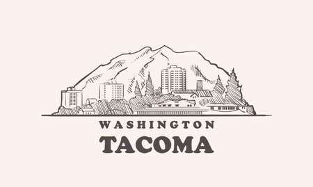 Tacoma skyline, washington drawn sketch 矢量图像