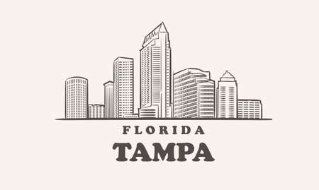 Tampa skyline, florida drawn sketch
