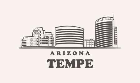 Tempe skyline, arizona drawn sketch