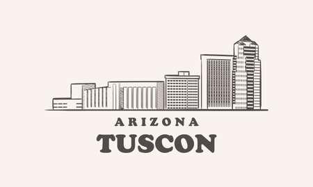 Tuscon skyline, arizona drawn sketch