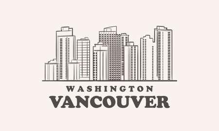 Vancouver skyline, washington drawn sketch