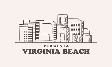 Virginia Beach skyline, virginia drawn sketch