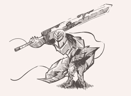 Warrior knight with a two handed huge sword