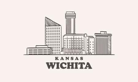 Wichita skyline, kansas drawn sketch 向量圖像