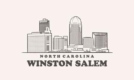 Winston Salem skyline, north carolina sketch 向量圖像