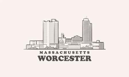 Worcester skyline, massachusetts drawn sketch