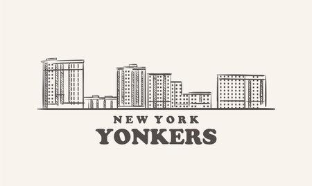 Yonkers skyline, new york drawn sketch 矢量图像