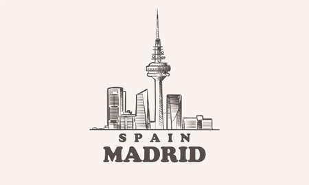 Madrid cityscape sketch hand drawn ,spain vector illustration 矢量图像
