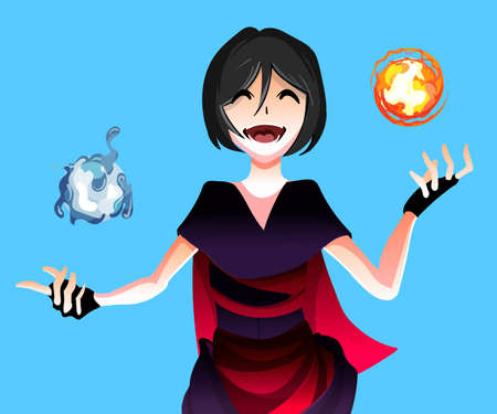 Anime girl sorceress with the magic of the elements of water and fire spheres ,vector 矢量图像