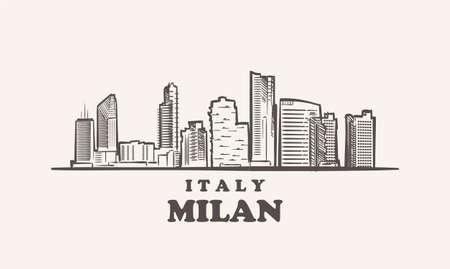 Milan cityscape sketch hand drawn ,italy vector illustration 矢量图像