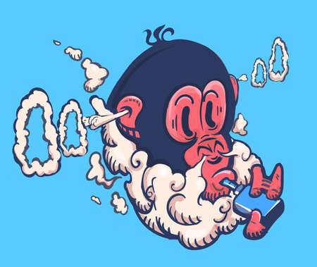 Monkey exhales a lot of steam from an electronic vape cigarette ,vape logo emblem vector illustration