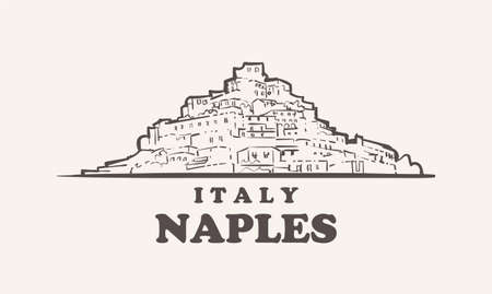 Naples cityscape sketch hand drawn ,italy vector illustration