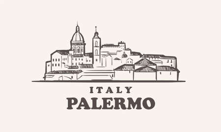 Palermo cityscape sketch hand drawn ,italy vector illustration 向量圖像