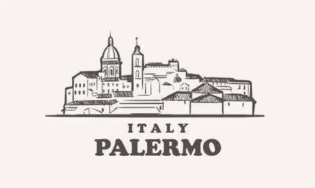 Palermo cityscape sketch hand drawn ,italy vector illustration 矢量图像