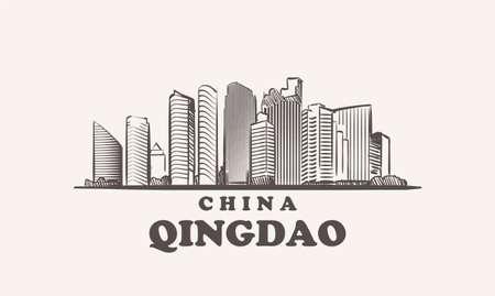 Qingdao cityscape sketch hand drawn ,china vector illustration 矢量图像