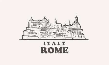 Rome cityscape sketch hand drawn ,italy vector illustration