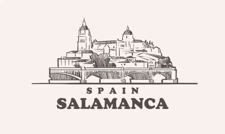 Salamanca cityscape sketch hand drawn ,spain vector illustration